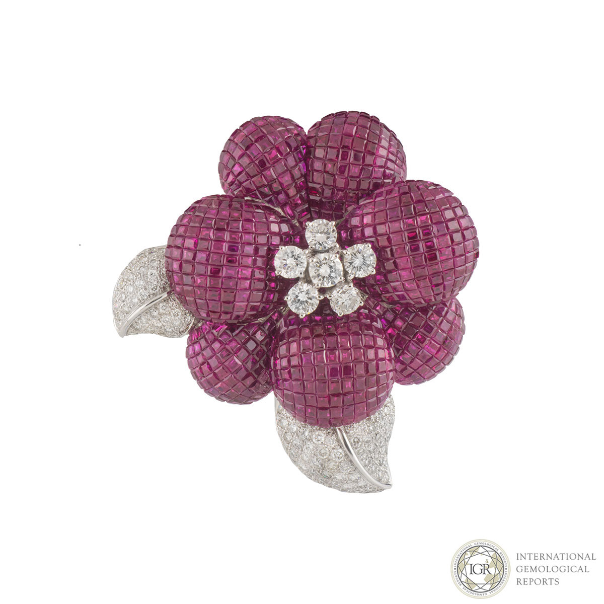 White Gold Diamond and Ruby Brooch